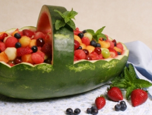 watermelon fruit basket Carving a Place in Your Summer Luau Party
