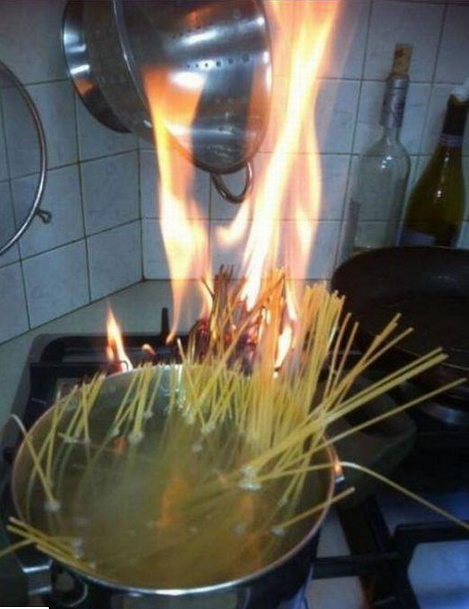burning spaghetti Sometimes you really should follow the recipe