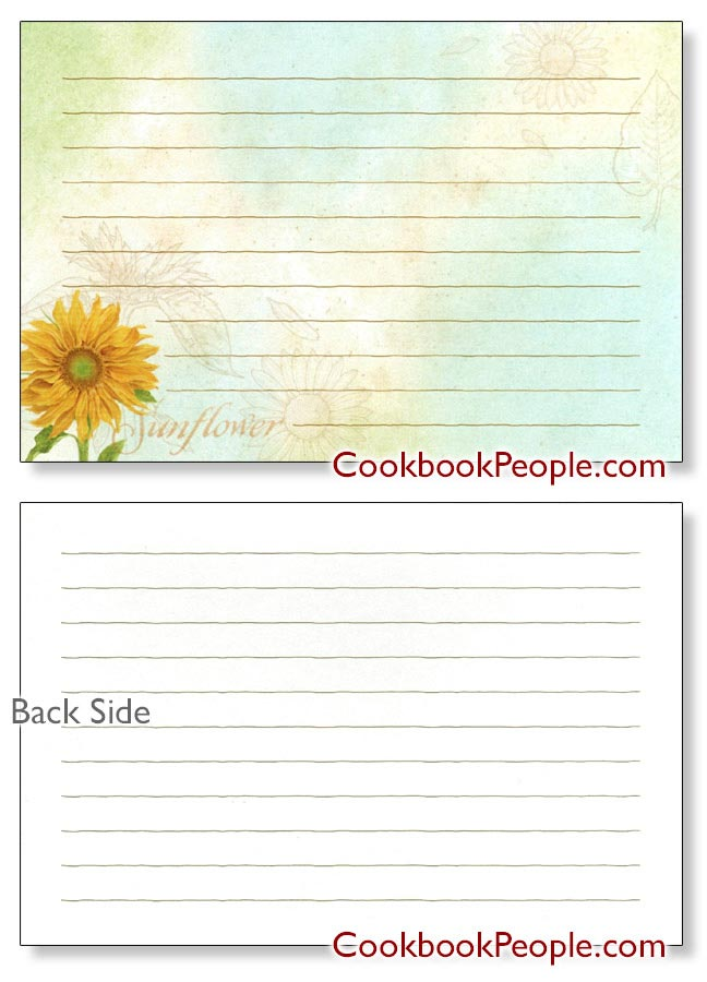 Sunflowers Recipe Card